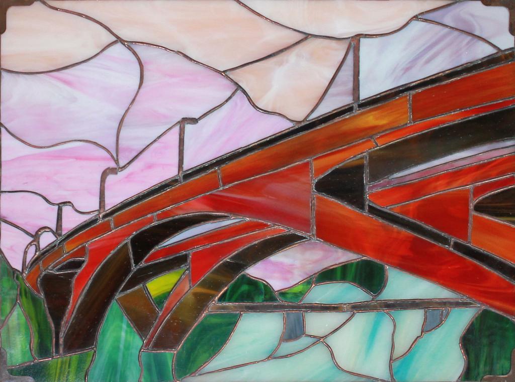 Alba sul ponte - Carlo Bensi - composizione in vetro