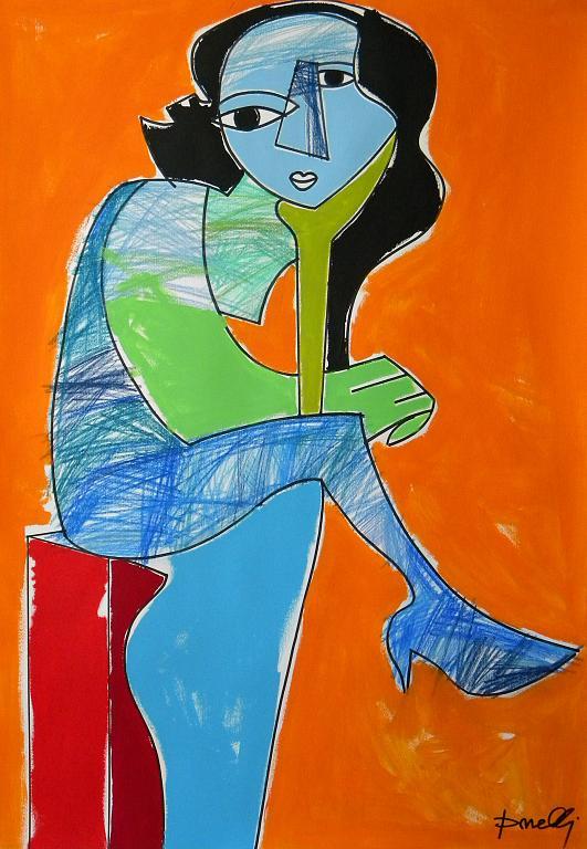 Donna seduta - Gabriele Donelli - Pastello e acrilico - 1800 €