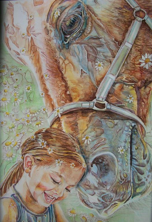 Bambina e cavallo  - Ruzanna Scaglione Khalatyan - matite acquerellabili - 120 €