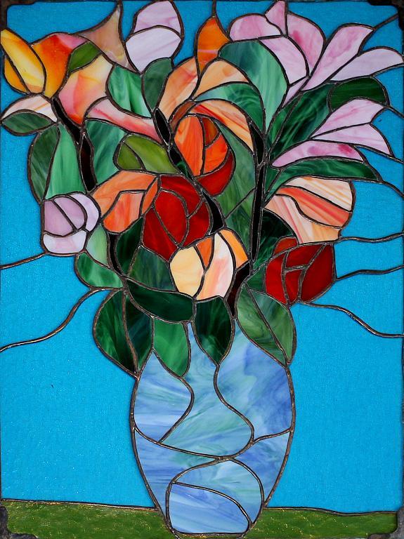 Fiori di primavera - Carlo Bensi - composizione in vetro - 1500 €
