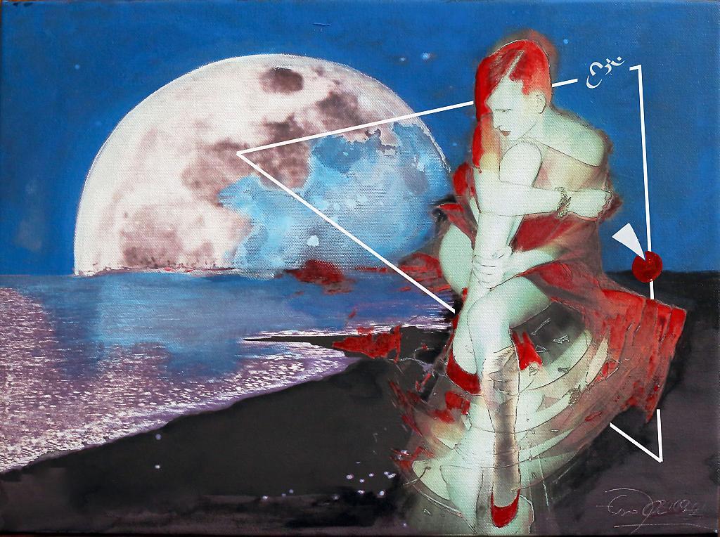 NOTTE DI LUNA PIENA,capelli rossi - stampa su tela ritoccata a mano - EZIO  RANALDI - mix media art - 500 €