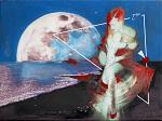 NOTTE DI LUNA PIENA,capelli rossi - stampa su tela ritoccata a mano - EZIO  RANALDI - mix media art - 500€