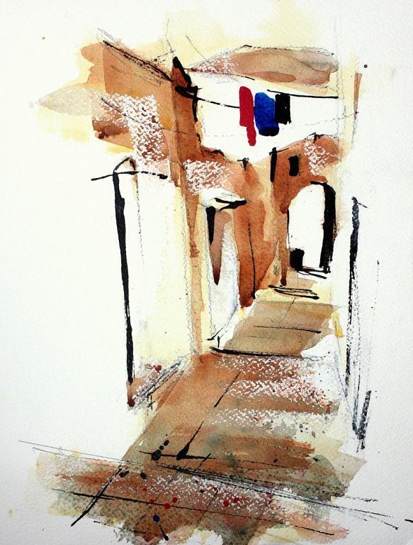 Passaggio a Capri - Guido Ferrari - acquerello e inchiostro - 300 €