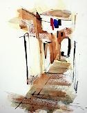 Passaggio a Capri - Guido Ferrari - acquerello e inchiostro - 300€