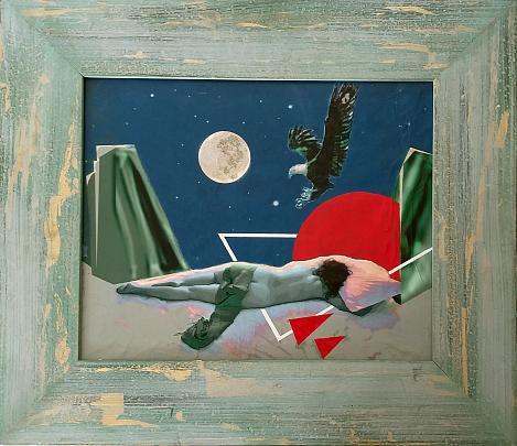 Notte di luna piena-stampa su tela ritoccata a mano - EZIO  RANALDI - mix media art - 500 €