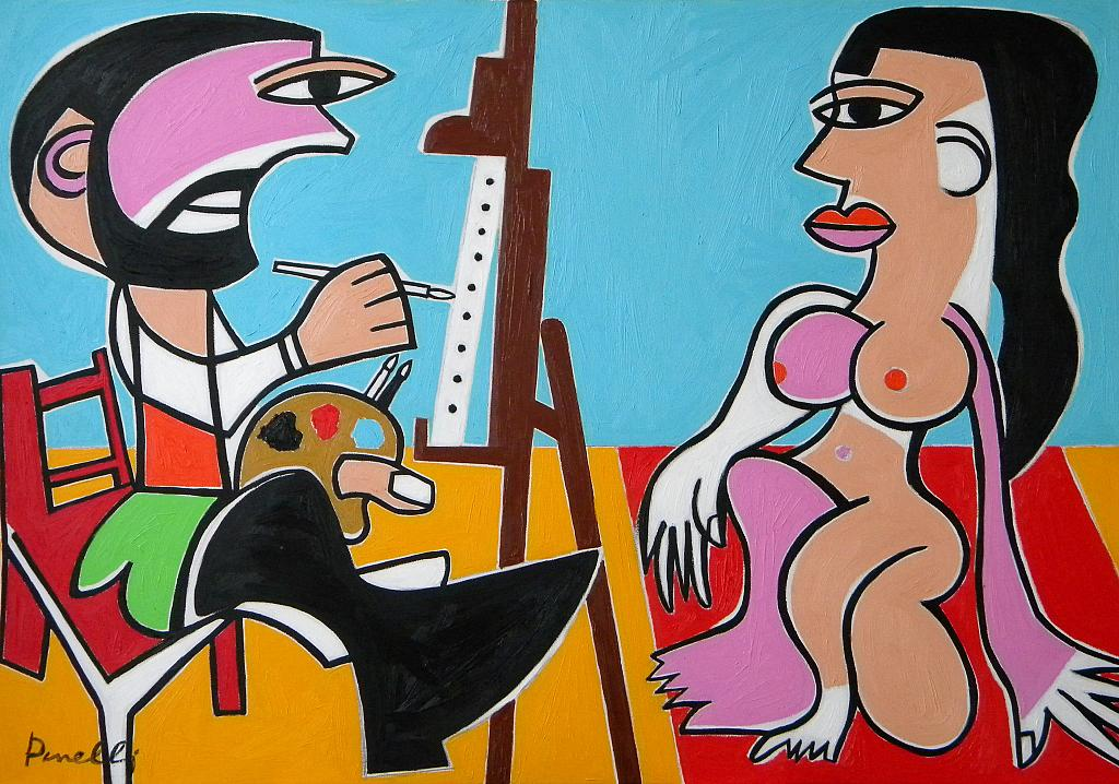 Le peintre et son modèle - Gabriele Donelli - Olio - 600 €