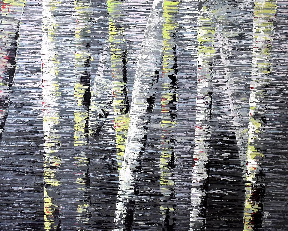 New England Birch trees Reflection - Daniela Pasqualini - Acrilico