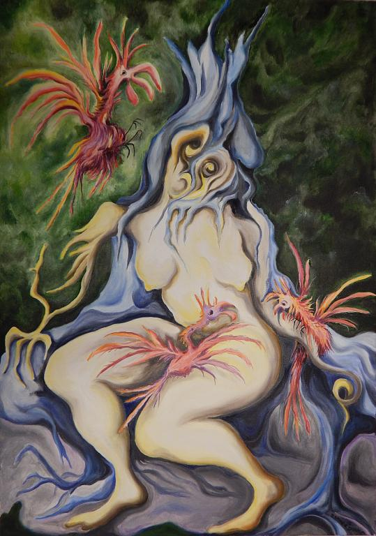 Caterina e i galli o tronco squarciato - esther diana - Olio - 700,00 €