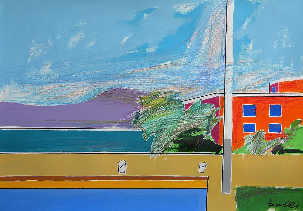 Veduta sul lago d'Iseo - Gabriele Donelli - Pastello e acrilico - 400 €