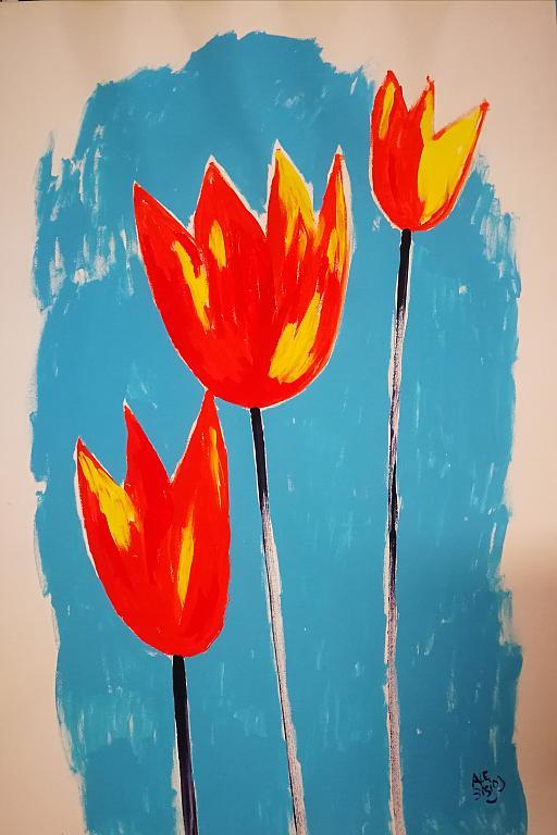 Tulipani arancioni - Alessandra Bisi - Guazzo - 200 €
