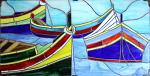 Sbarco a Lampedusa - Carlo Bensi - composizione in vetro - 1500 €