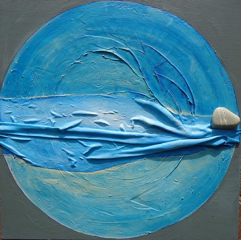 Luna vestita di mare - RITA SCARPELLI - pittura materica - 80 €