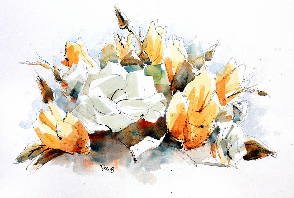 fiori e foglie - Guido Ferrari - Acquerello - 500 €