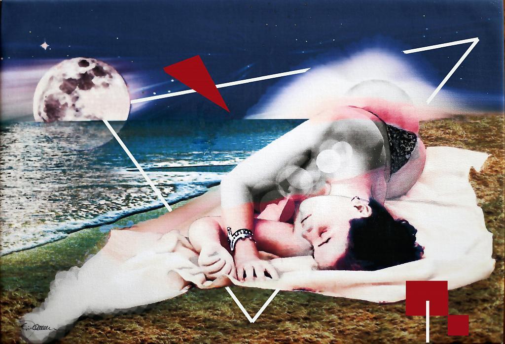 IL BRACCIALE stampa su tela ritoccata a mano - EZIO  RANALDI - mix media art - 300 €