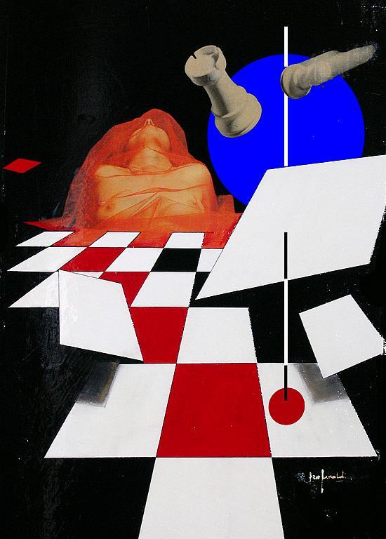 la scacchiera -  mista su tavola - EZIO  RANALDI - tecnica mista su tavola con trattamento a vernice e smalto