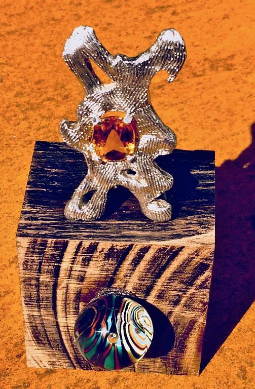 Scultura in argento con zircone - rosario marra - scultura a cera persa