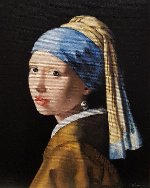 La ragazza con l'orecchino di perla . Jan Vermeer - Mery BLINDU - Olio - 2200 €