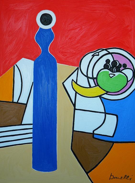 Bottiglia e fruttiera - Gabriele Donelli - Olio - 900 €