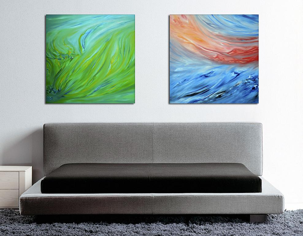 Composizione di 2 opere, Diptych, Spring green and Red sunset on the sea, 160X80 cm - Davide De Palma - Olio - 450 €