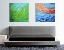 Composizione di 2 opere, Diptych, Spring green and Red sunset on the sea, 160X80 cm - Davide De Palma - Olio - 450€