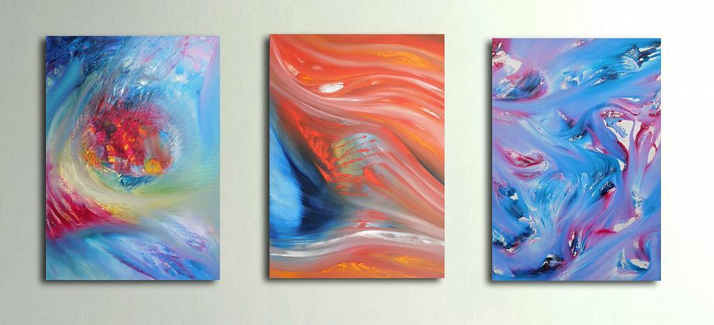 Ensamble, Triptych n 3 Opere, 150x70 cm - Davide De Palma - Olio
