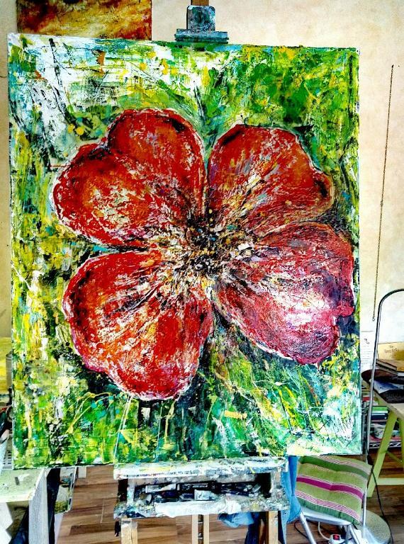 Grande Fiore Rosso - tiziana marra - Action painting - 520,00 €