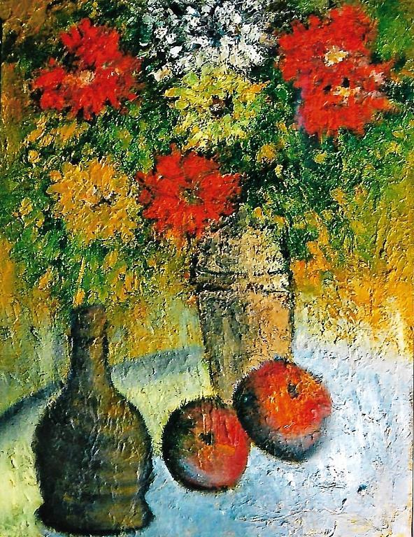 Fantasia di vasi in terracotta con fiori - mario fanconi - Olio - 550 €