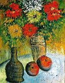 Fantasia di vasi in terracotta con fiori - mario fanconi - Olio