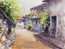 Limone, Lago di Garda, Italia - Eve Mazur - Acquerello - 38€