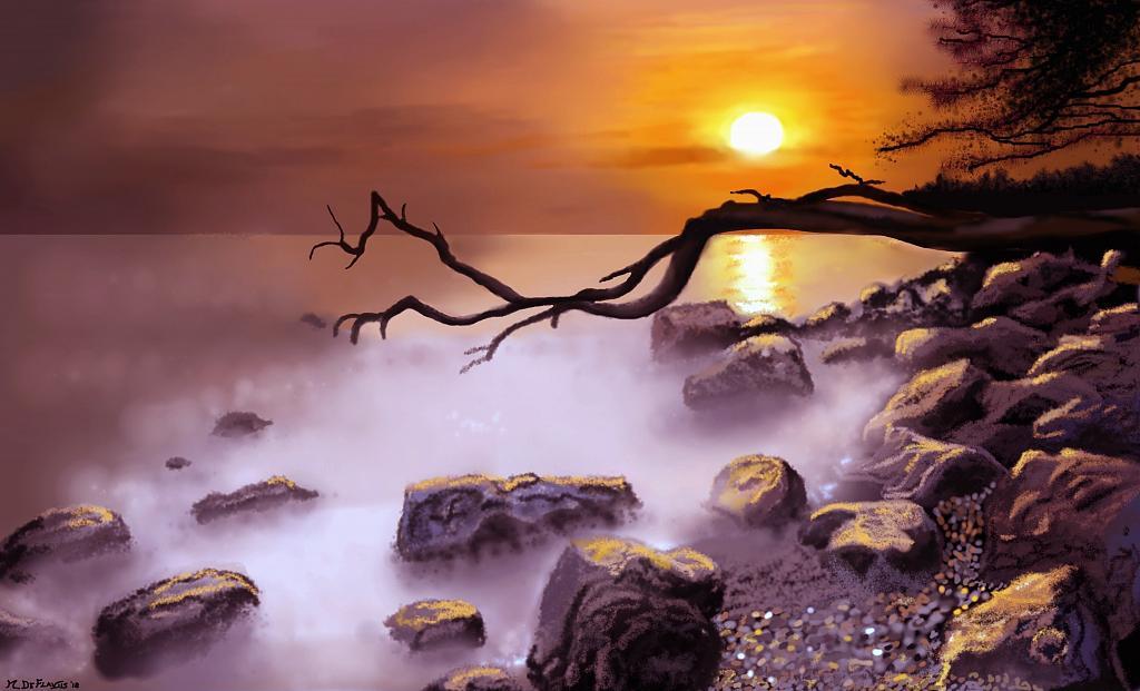 Nebbia mattutina sulla scogliera - Michele De Flaviis - Digital Art