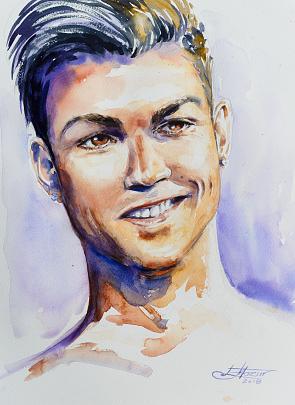 Christiano Ronaldo - Eve Mazur - Acquerello - 90 €