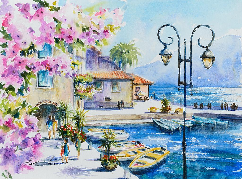 Limone, Lago di Garda, Italia - Eve Mazur - Acquerello - 45 €