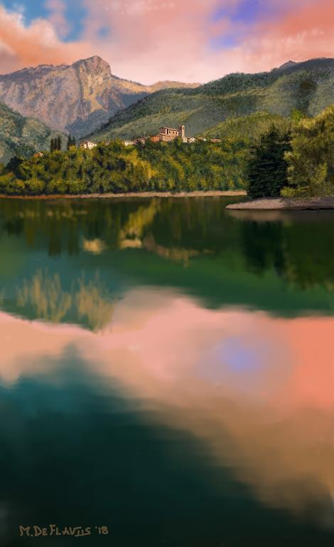 Montagna, paese e lago - Michele De Flaviis - Digital Art - 100 €