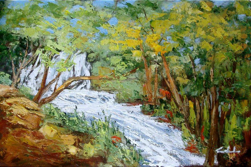 Inutili pensieri gettati alle acque -cascata ai laghi di Plitvice -Croazia - prezzo speciale  - Carla Colombo - Olio - 170 €