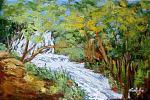 Inutili pensieri gettati alle acque -cascata ai laghi di Plitvice -Croazia  - Carla Colombo - Olio - 310 €
