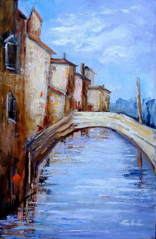 il cuore raccolto lungo le acque del canale  - Chioggia OFFERTA SPECIALE  - Carla Colombo - Olio