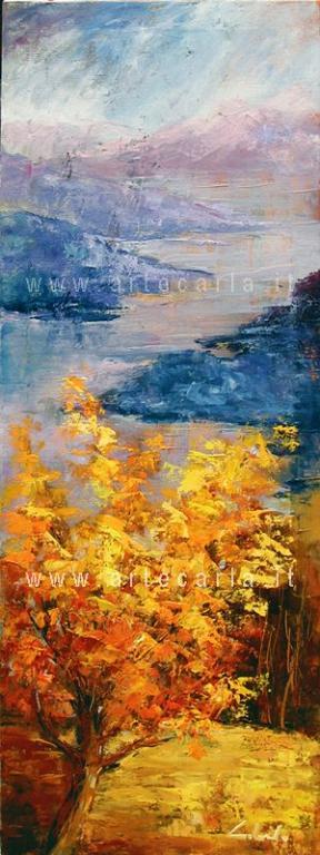 Luce d'autunno   - lago di Como - Carla Colombo - Olio