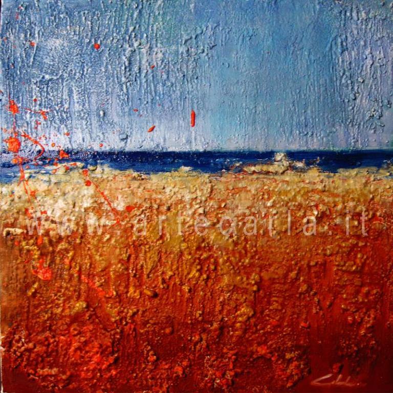 Ci divide solo il mare - Prezzo speciale  - Carla Colombo - olio + sabbia  - 120 €