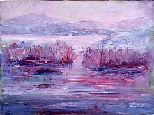 La malinconia scende sul lago  - Carla Colombo - Olio - 260€