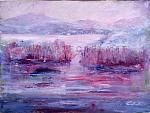 La malinconia scende sul lago  - Carla Colombo - Olio - 260 €