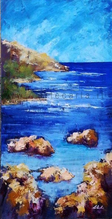Il sogno infinito nei mari del sud - Carla Colombo - olio + vari  - 450 €
