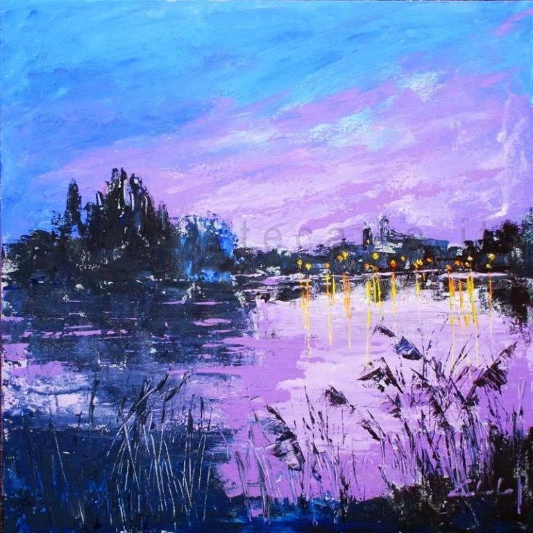 Accadde la sera sul fiume - Carla Colombo - Acrilico - 400 €