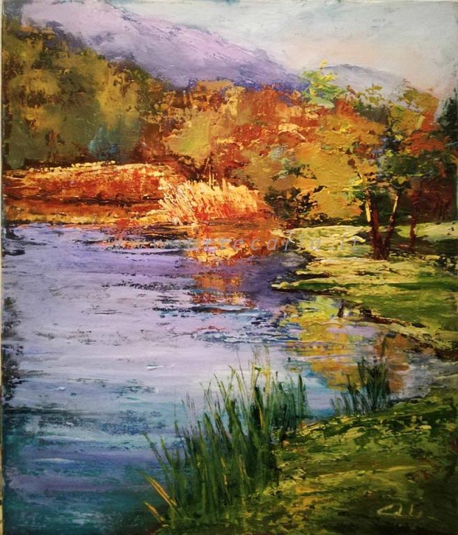 I colori di un racconto sul fiume - Carla Colombo - Olio
