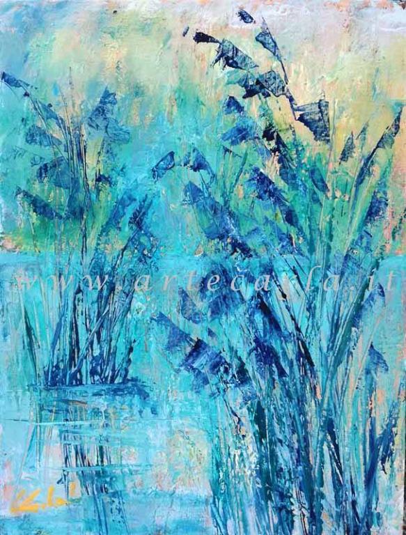 E' d'azzurro e di silenzio - Carla Colombo - Olio