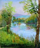 Infinite melody on the river - Carla Colombo - Oil
