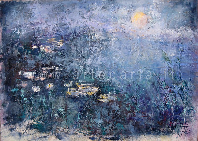 Raccontami timida luna - Carla Colombo - olio + sabbia  - 480 €