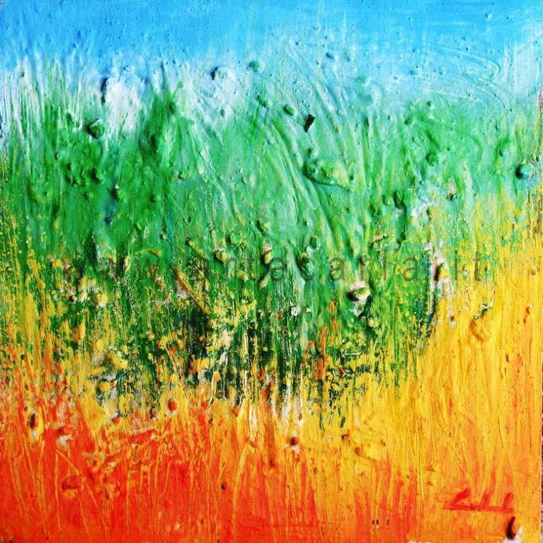 Inventando un'emozione - Carla Colombo - olio + sabbia  - 95 €