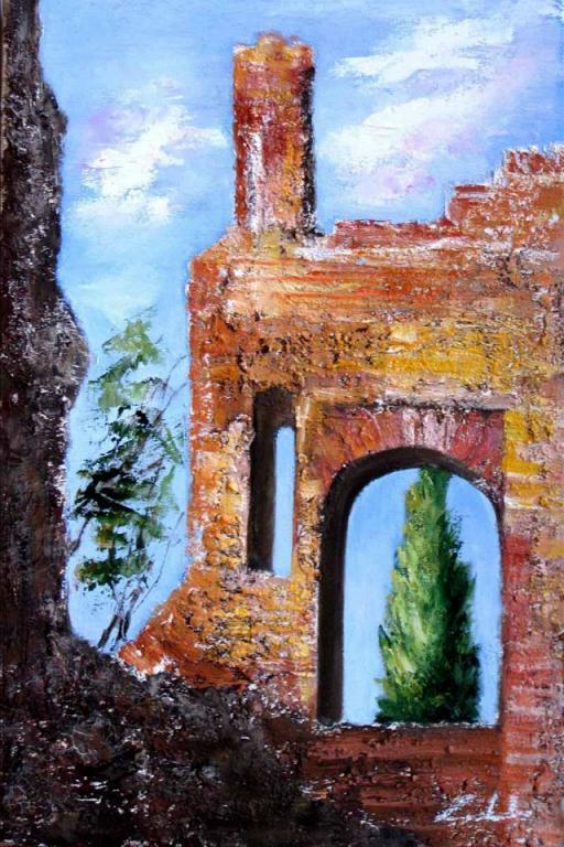 Nella storia, la ricerca del tempo andato - castello di Trezzo d'Adda  - prezzo speciale  - Carla Colombo - olio + sabbia  - 190 €