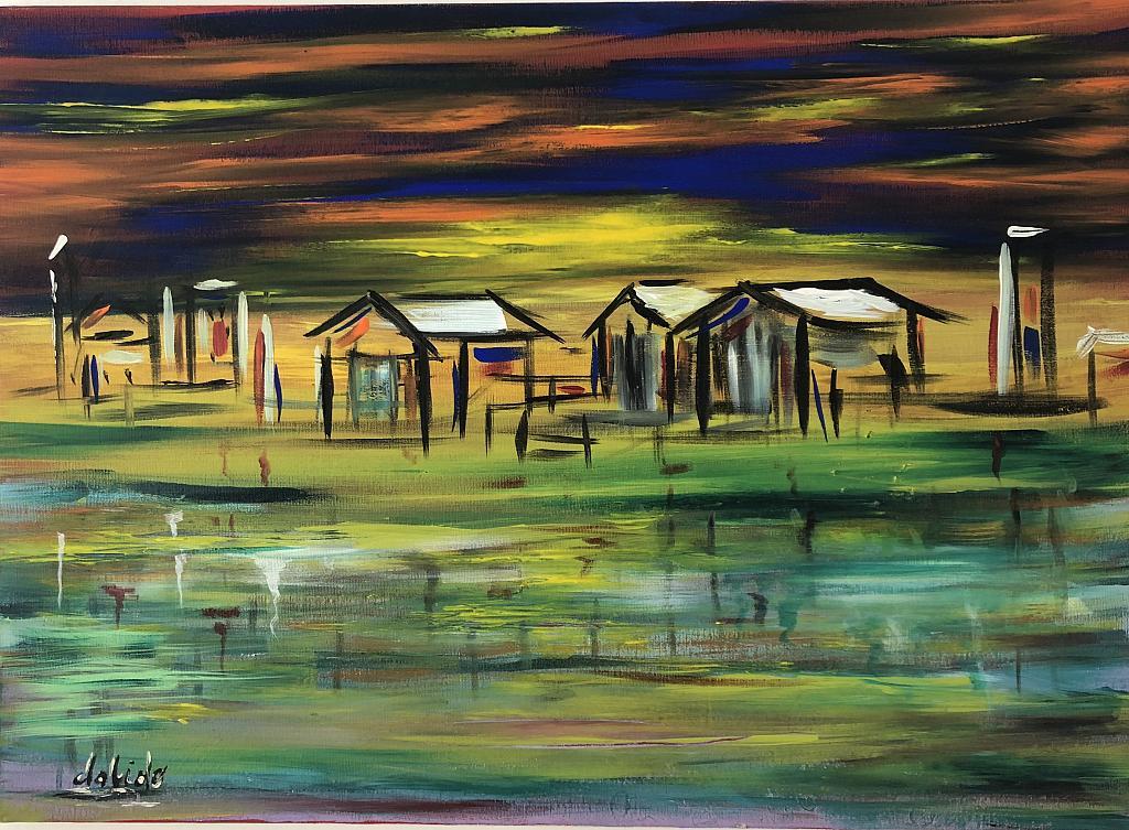 Case sul lago - Dalido Gino Marini - Acrilico - 500 €