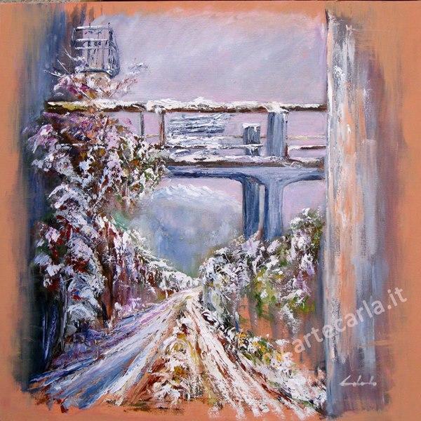 Poesia dipinta per un'emozione -angolo villa Moretti -  Calco - Carla Colombo - Olio